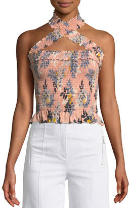 Donya Country Fern-Print Smocked Halter Top
