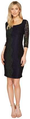 Sangria 3/4 Sleeve Tri Color Stretch Lace Sheath Dress Women's Dress