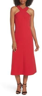 Maggy London Cross Neck Crepe Midi Dress