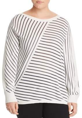 Lafayette 148 New York Plus Directional Stripe Sweater