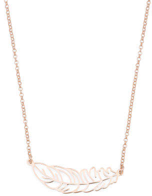 Made In Italy Plated Sterling Silver Cutout Leaf Necklace