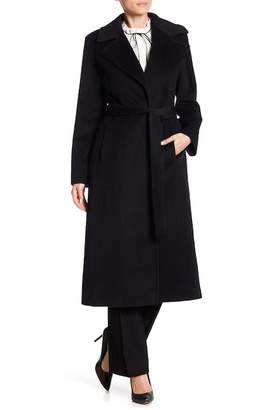 Fleurette Belted Long Wool Coat
