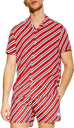 Topman Diagonal Stripe Short Sleeve Shirt