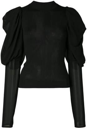 Vera Wang panelled ribbed-knit jumper