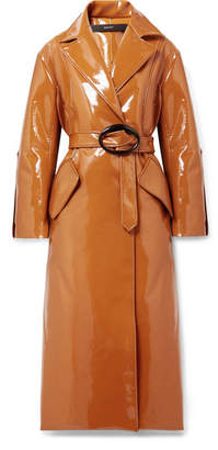 Ellery Nine To Five Pod Vinyl Trench Coat - Camel