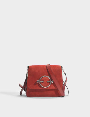 J.W.Anderson Disc Bag in Crimson Red Suede and Calf Leather