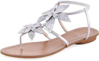 Pelle Moda Ellis Flower Flat Sandals, Silver