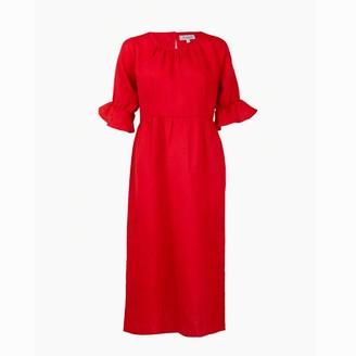 Asneh Natalie Red Midi Linen Dress