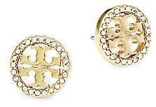 Tory Burch Women's Crystal Logo Silvertone Circle Stud Earrings