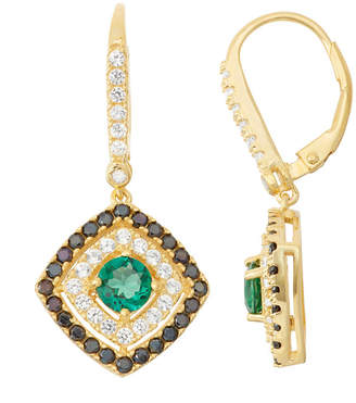 FINE JEWELRY Lab-Created Emerald & Black Spinel Diamond Accent 14K Gold Over Silver Leverback Earrings