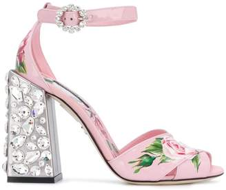 Dolce & Gabbana embroidered heel printed sandals