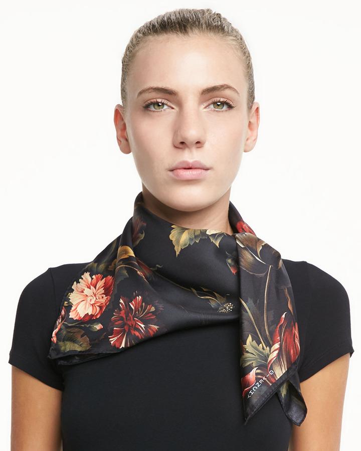 Floral-Print Silk Twill Square Scarf