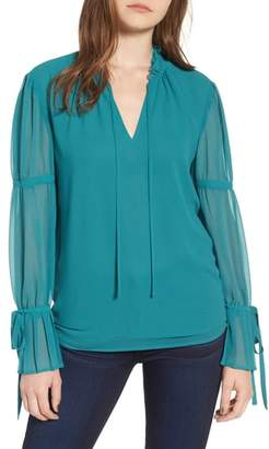 Chelsea28 Ruffle Collar Pleat Cuff Top