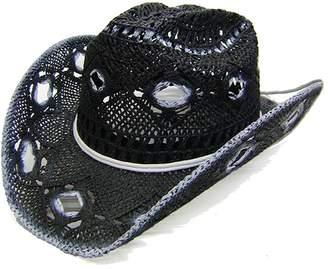 13a225fa02a Modestone Women s Open Weave Straw Cowboy Hat White