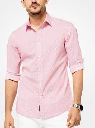 Michael Kors Slim-Fit Geometric Stretch-Cotton Shirt