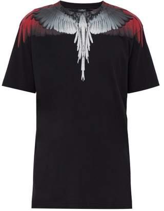 Marcelo Burlon County of Milan Wings Print Cotton Jersey T Shirt - Mens - Black Red