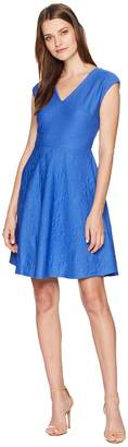 Taylor V-Neck Textured Fit-and-Flare Dress Women's Dress