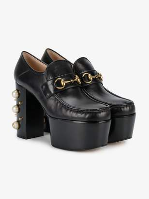 Gucci Studded Heel Horsebit Platform Loafers