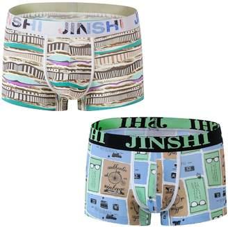 Trunks YKC JINSHI Men's Soft Bamboo Boxer Briefs Short Leg Underwear Funny Printed Graphic 8-Pack L