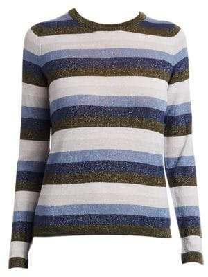 Saks Fifth Avenue COLLECTION Stripe Lurex Merino Wool-Blend Sweater