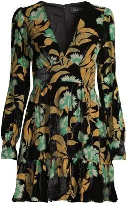 Saloni Pia Botanical Print Mini Dress