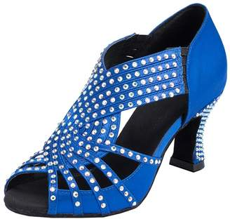 BEIGE TDA Womens Zipper Mid Heel Black Satin Crystals Latin Modern Salsa Tango Ballroom Wedding Dance Shoes