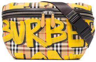 Burberry yellow, black and brown Large Graffiti Print Vintage Check and Leather Bum Bag