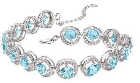 Lord & Taylor Blue Topaz, White Topaz and Sterling Silver Bracelet