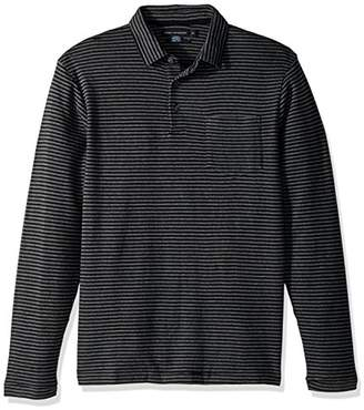 French Connection Men's Double Face Alternative Stripe Longsleeve Polo