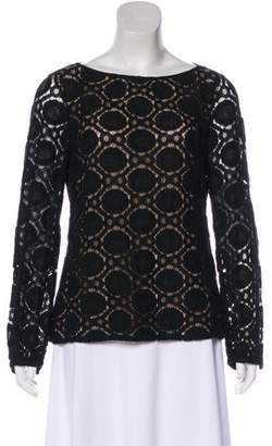 Tory Burch Crocheted Long Sleeve Blouse
