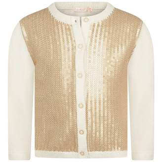 Billieblush BillieblushBaby Girls Ivory & Gold Sequin Cardigan