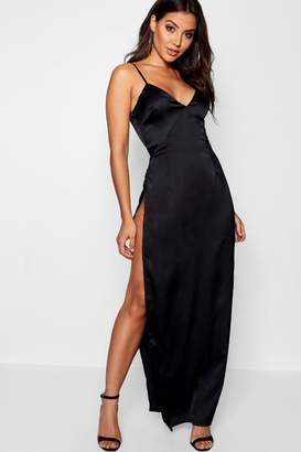 boohoo Satin Extreme Split Maxi Slip Dress