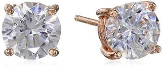Swarovski La Lumiere Rose Gold Plated Sterling Silver Zirconia (3cttw) Round Stud Earrings