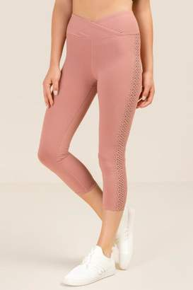 francesca's Jacelyn Laser Cut Cropped Legging - Blush