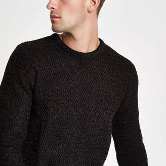 River Island Mens Black knit slim fit crew neck jumper