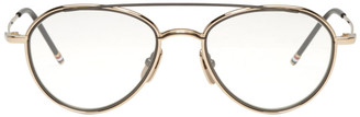 Thom Browne Gold Aviator Glasses $650 thestylecure.com
