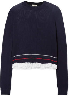 Miu Miu Broderie Anglaise-trimmed Open-knit Cotton Sweater - Midnight blue