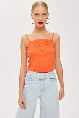 Topshop Womens Cut Out Trim Camisole Top - Orange
