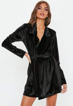 c143902ec4c Missguided Black Long Sleeve Velvet Belted Blazer Dress