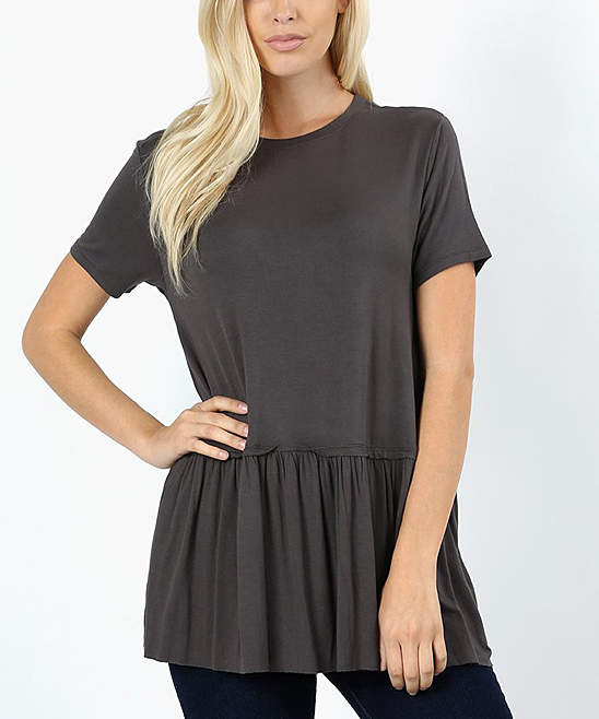 Ash Grey Ruffle Tunic - Women