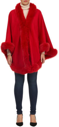 Gorski Wool Caplet with Shadow Fox Fur Trim