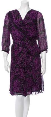 Halston Printed Silk Dress w/ Tags
