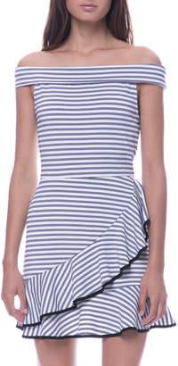 ENGLISH FACTORY Off-The-Shoulder Ruffled Mini Dress