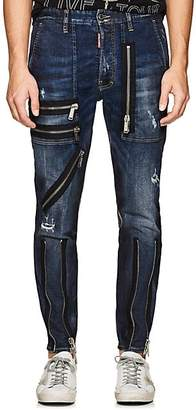 DSQUARED2 Men's Zip-Detailed Distressed Skinny Jeans - Blue Size 46 Eu