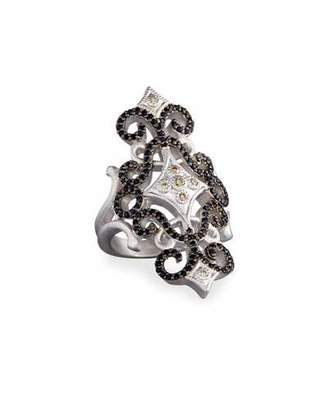 Armenta New World Pave Scroll Ring with Champagne Diamonds & Black Sapphires