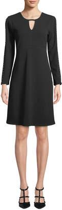 Neiman Marcus Beaded-Sleeve Stretch Crepe Dress