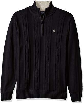 U.S. Polo Assn. Men's Solid Cable 1/4 Zip Sweater