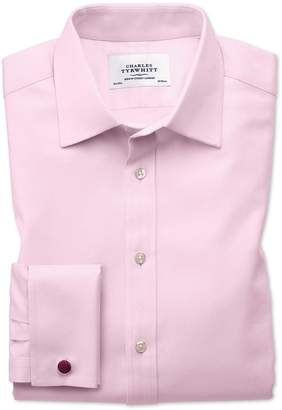 Extra Slim Fit Egyptian Cotton Cavalry Twill Light Pink Dress Shirt French Cuff Size 15.5/32 by Charles Tyrwhitt