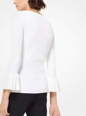 Michael Kors Ribbed Stretch-Viscose Bell-Cuff Pullover