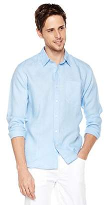 Isle Bay Linens Men's 100% Linen Long Sleeve Casual Woven Shirt Standard Fit Vertical
